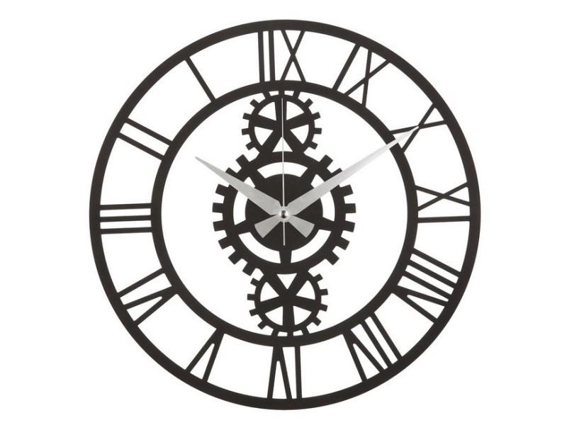 Homemania horloge murale muro - décorative - ingranaggi - pour séjour, chambre - noir en acier, 50 x 0,2 x 50 cm