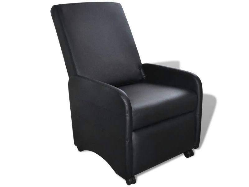 Vidaxl fauteuil pliable cuir synthétique noir Vente de