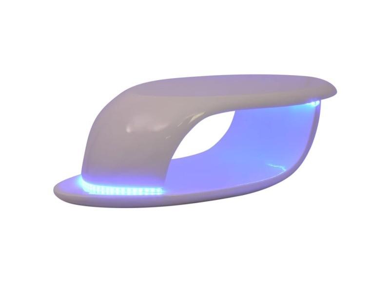 Icaverne - tables basses ensemble table basse avec lumière led fibre de verre blanc