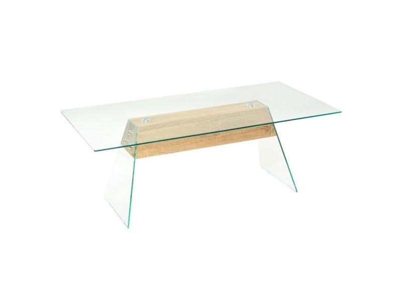 Vidaxl table basse mdf et verre 110 x 55 x 40 cm couleur de chêne 245637
