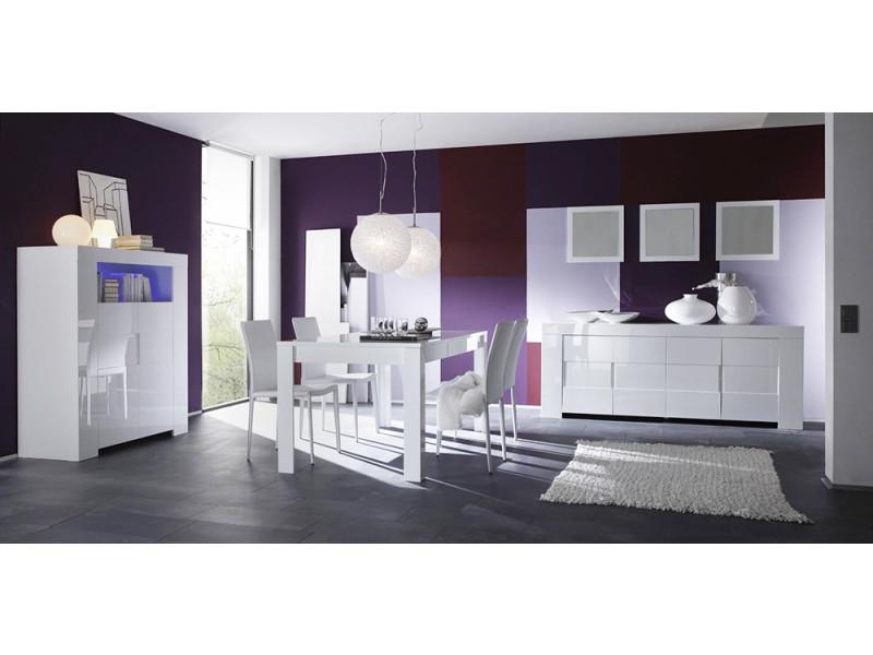 Salle à manger complète blanc laqué design eleonore - Vente ...