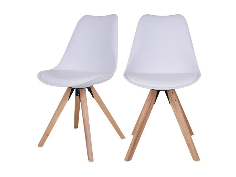 Lot de 2 chaises scandinaves umbreta blanc pieds en
