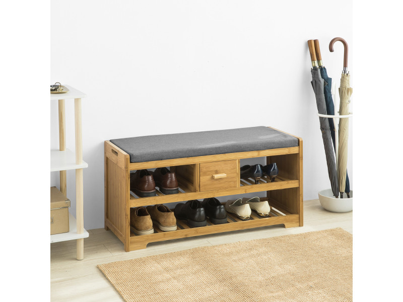 Étagère à chaussures avec tiroir, banquette siège pour chausser, sobuy® ,fsr75-n