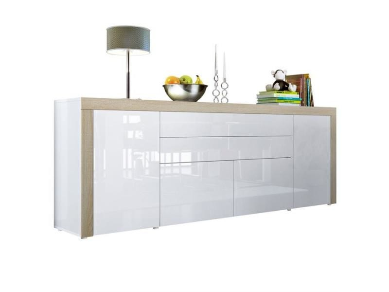 Buffet blanc haute brillance bordure chêne brut mdf 200 cm