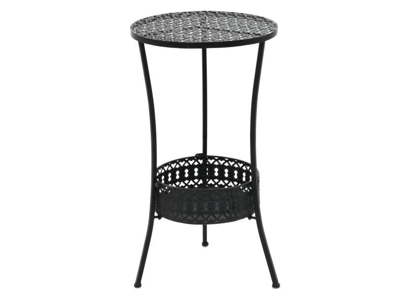 Stylé meubles de jardin gamme malabo table de bistro style vintage ronde métal 40 x 70 cm noir
