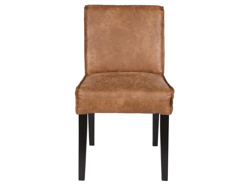 Chaise coloris cognac en cuir, h 83 x l 45 x p 61 cm - pegane -