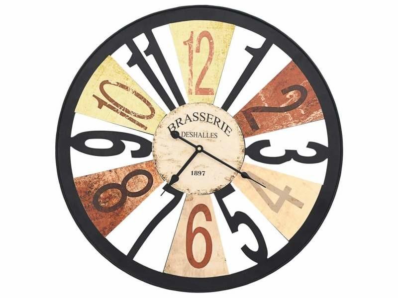 Horloge murale métal 60 cm multicolore dec022223