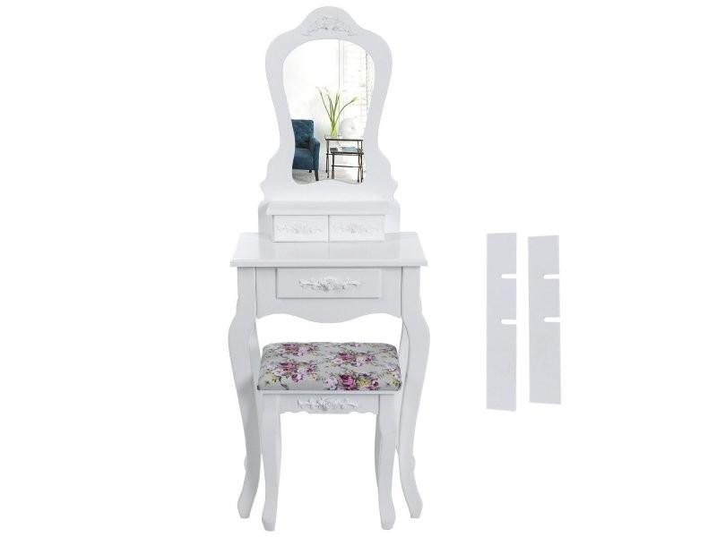coiffeuse bois avec grand miroir et 3 tiroirs et tabouret. Black Bedroom Furniture Sets. Home Design Ideas