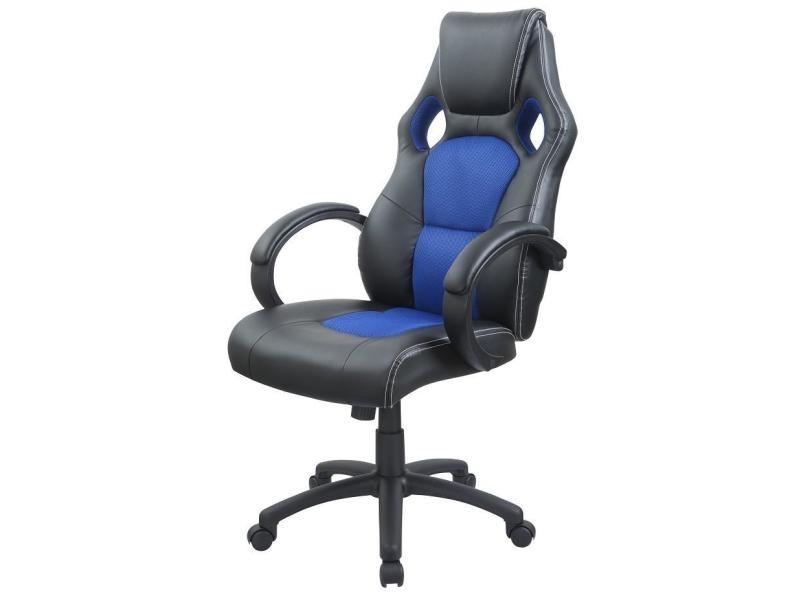 Fauteuil de bureau chaise siège sport ergonomique bleu helloshop26