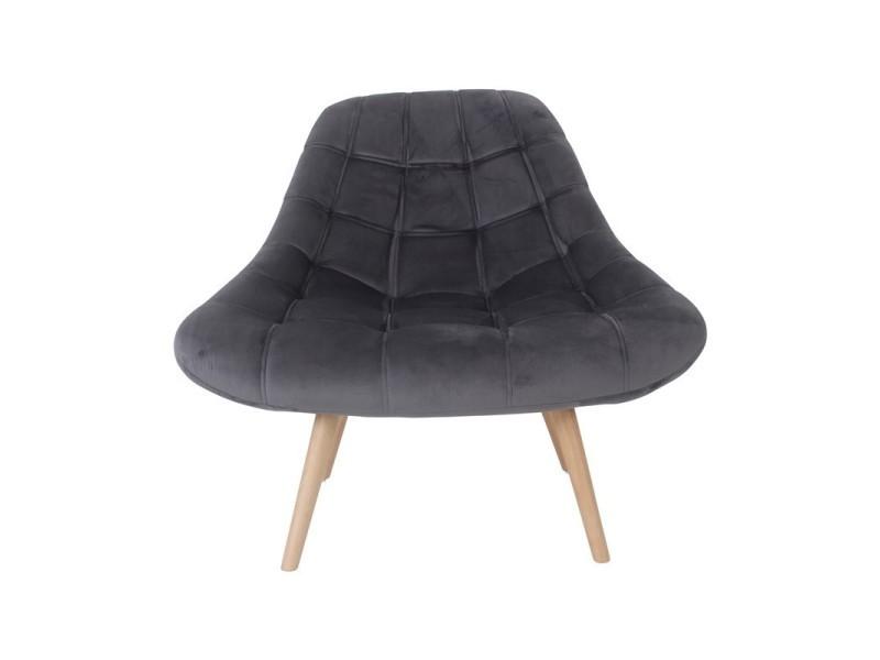 Minay fauteuil en velours gris anthracite 440646
