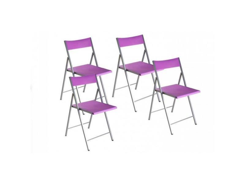 good belfort lot de chaises pliantes mauve with table 4 chaises conforama. Black Bedroom Furniture Sets. Home Design Ideas