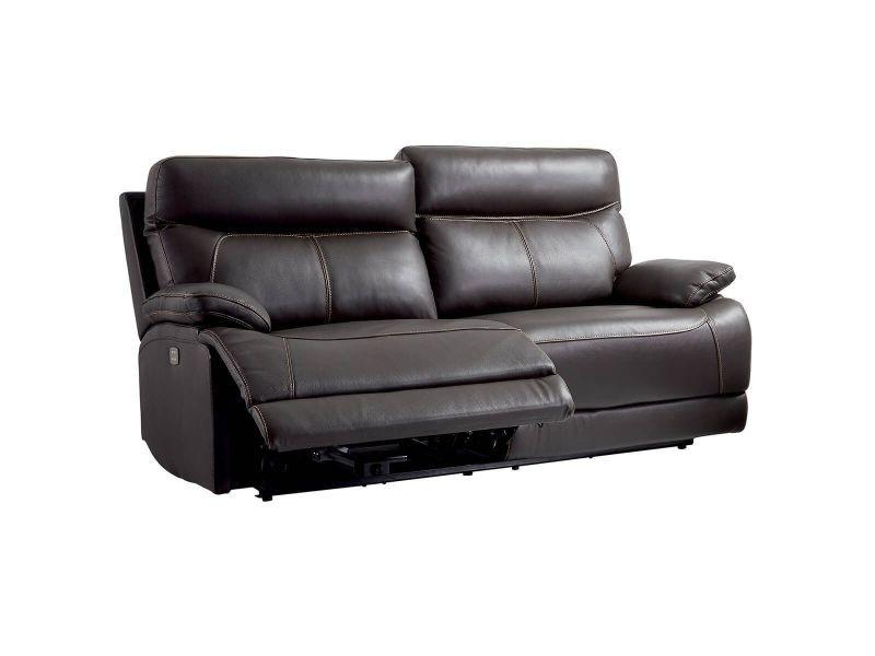 Cordoue - canapé relax electrique 3 places cuir marron