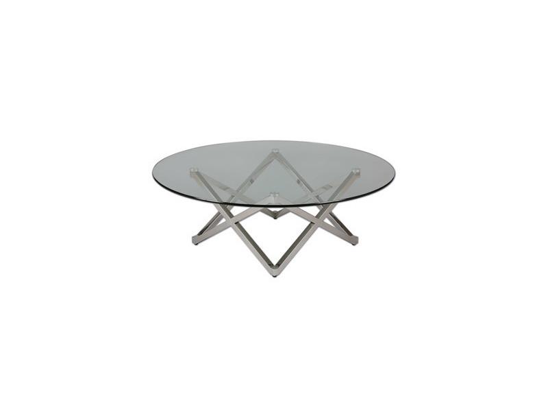 Table basse pied étoile en acier et verre trempé - glass