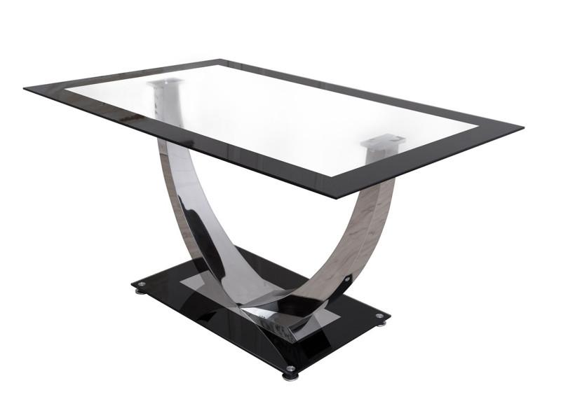 Table à manger en chrome et verre trempé coloris noir avec pieds forme u - dim : 140 x 90 x 75 cm -pegane-
