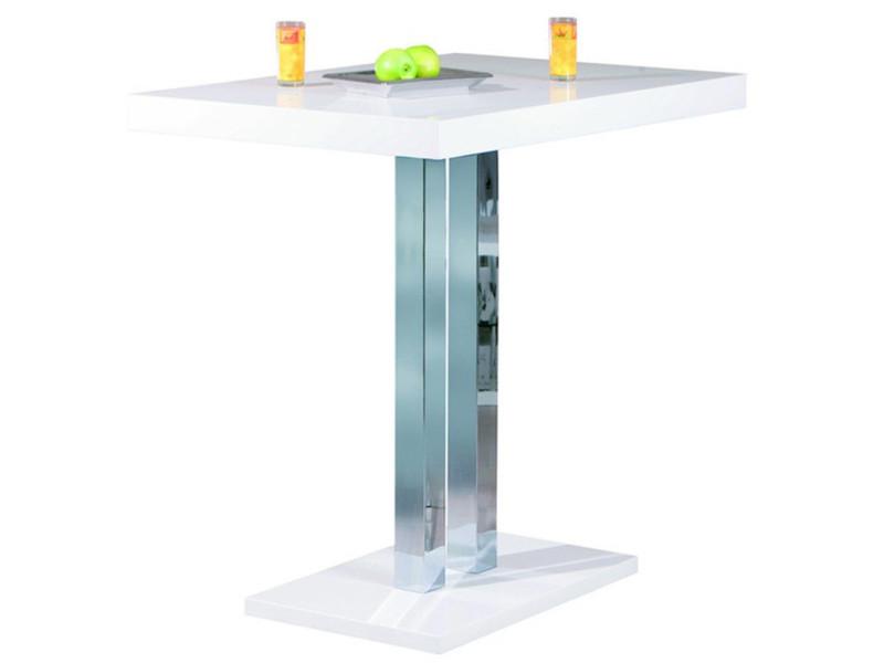 Table de bar laqué blanc et pieds métal chromé - l.120 x h.110 x p.80 cm -pegane- PEGANE