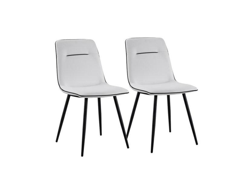 Valerie - set de 2 chaises modernes - simili cuir - coloris blanc