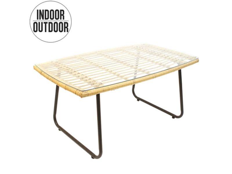 Table basse d'intérieur/extérieur surabaya en verre trempé - noir et beige
