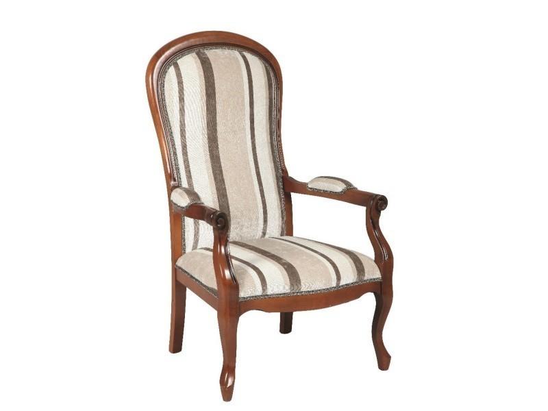 fauteuil voltaire en h tre et tissu rayures marron claires 20100841700 vente de tous les. Black Bedroom Furniture Sets. Home Design Ideas