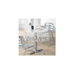 Toile cirée nappe de protection transparente - d 140 cm - ronde feuille blanc