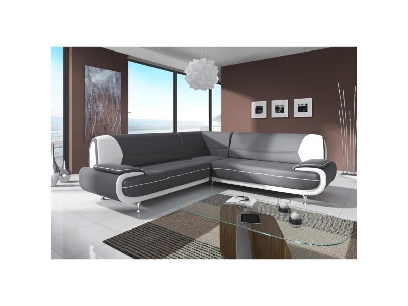 Muza - canapé d'angle design en simili cuir gris et blanc