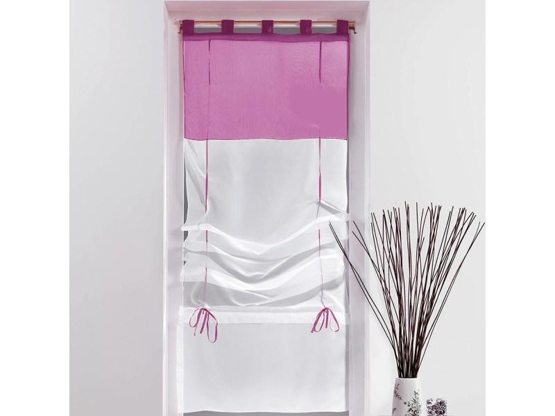 un store droit passant rideau voile bicolore blanc aubergine 45 x 180 cm vente de les. Black Bedroom Furniture Sets. Home Design Ideas