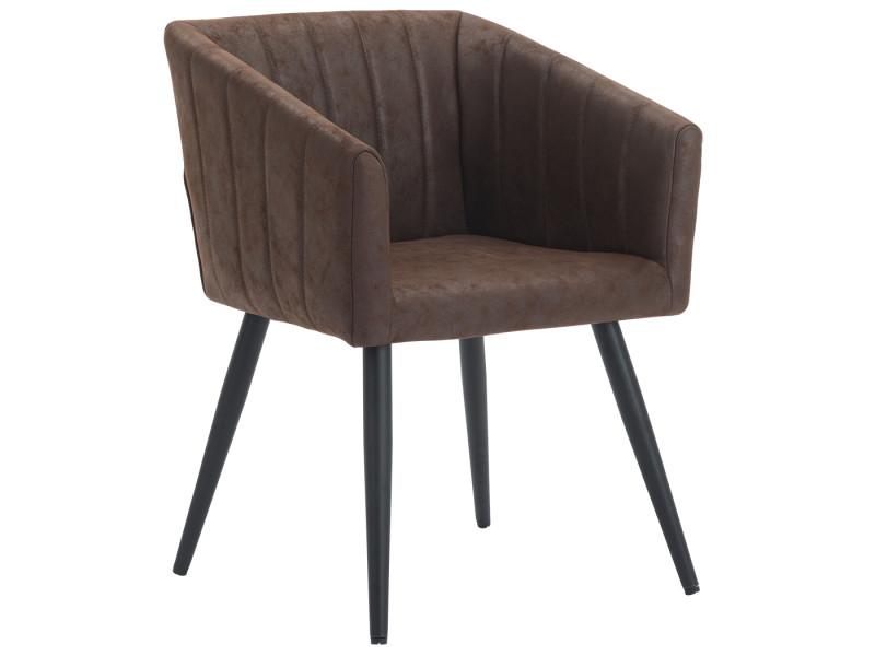 Duhome fauteuil salle à manger aspect en cuir marron foncé design retro avec pieds en métal 8065
