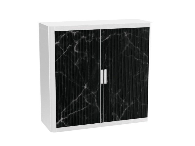 Armoire de bureau métalique porte coulissante h 1m - marbre noir