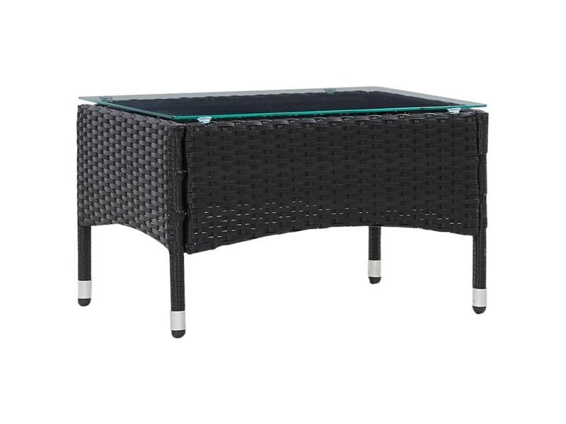 Splendide mobilier de jardin selection andorre-la-vieille table basse noir 60x40x36 cm résine tressée