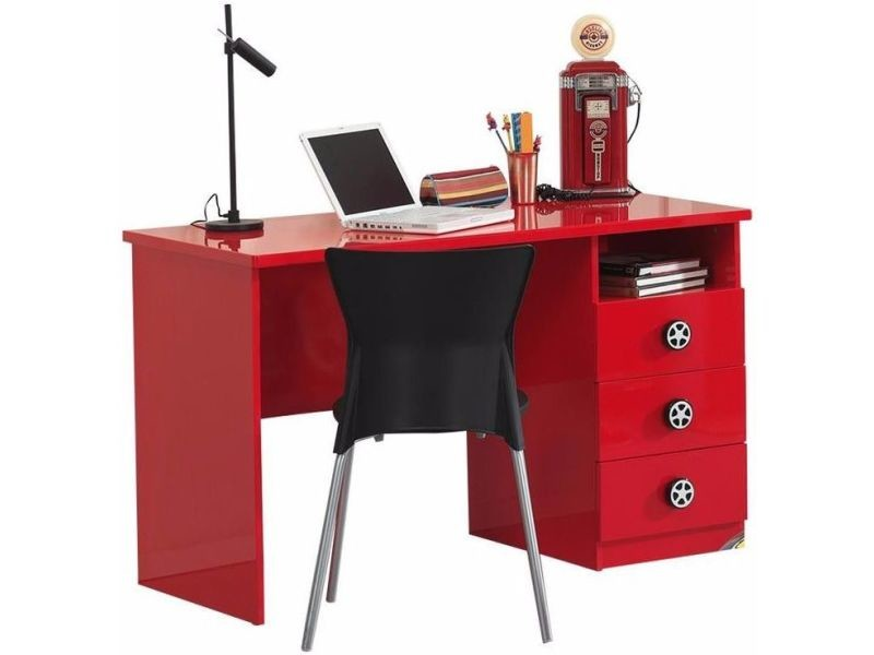 bureau enfant 120 cm en mdf coloris rouge avec 3 tiroirs de rangement vente de comforium. Black Bedroom Furniture Sets. Home Design Ideas