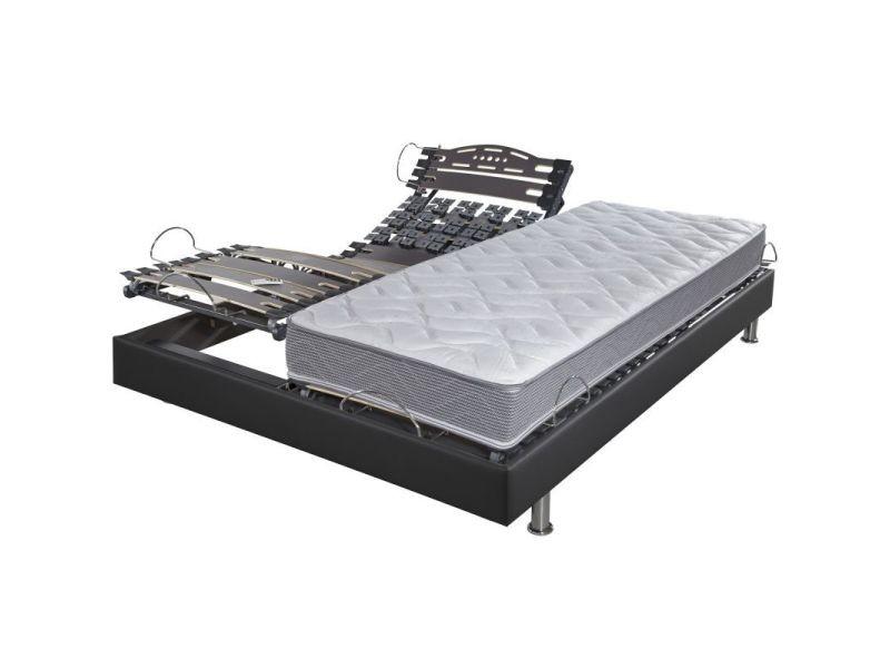 Lit électrique + matelas wave 2x80x200 relax action simili gris JPIE115MC&&SSRA88002&&0P1516CG2&&MWAV08002&&MWAV08002