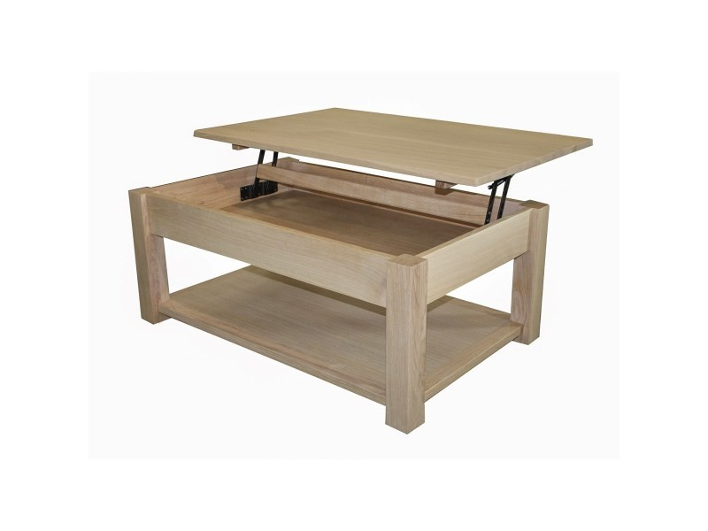 Table basse chêne massif et laqué, relevable, made in france