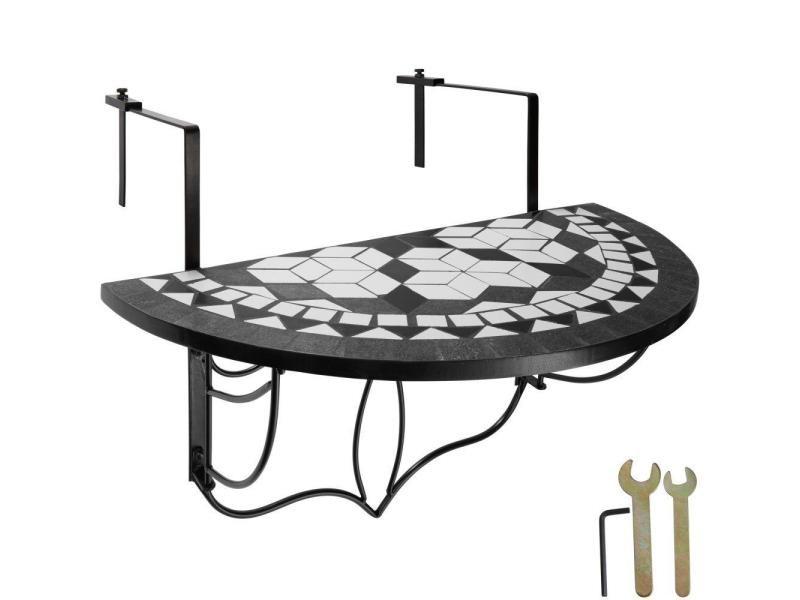 Table de balcon rabattable noir/blanc 76 cm helloshop26 2208254