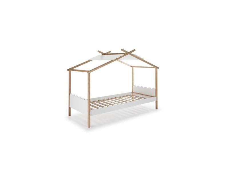 Nuvem lit cabane enfant en bois pin massif et mdf laqué - décor naturel et blanc - l90 x l190 cm NUVEM13244