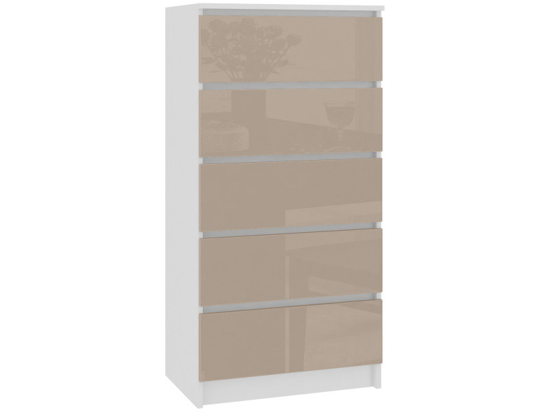 Skandi - commode contemporaine chambre + salon + bureau 121x60x40 cm - 5 tiroirs - design moderne - chiffonier semainier - blanc/cappuccino laqué