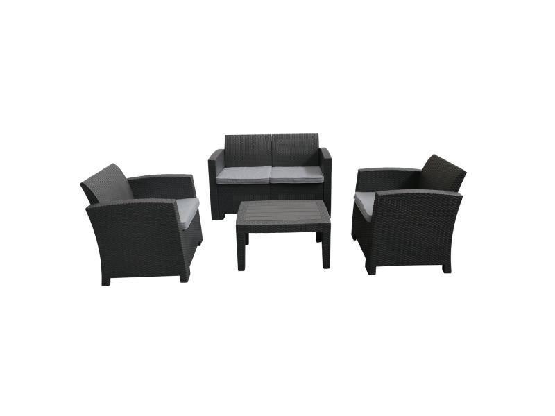 Salon de jardin chillvert siena en résine 1 canapé + 2 fauteuils + table gris anthracite