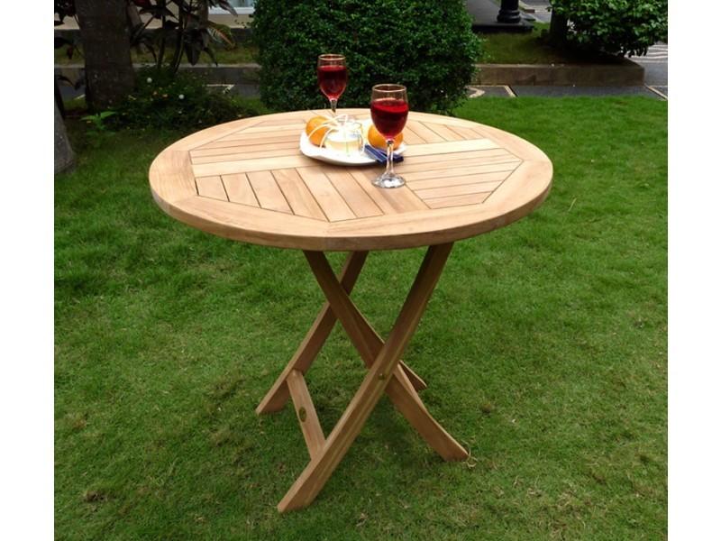Table pliante de jardin 70 cm de diamètre teck brut - Vente de Salon ...