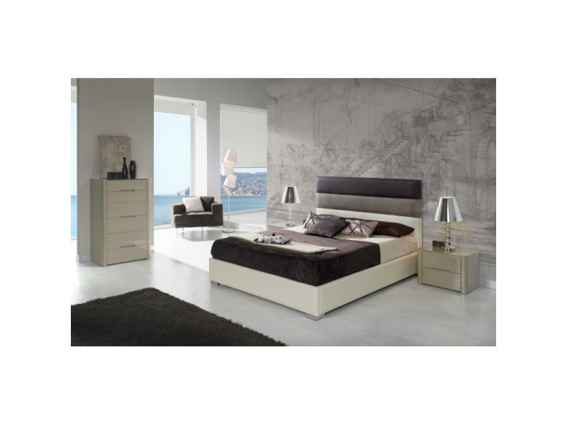 Tête de lit pour lit 180 cm en simili-cuir ivoire, moka et marron chogo - l 192 x h 118 - Vente ...
