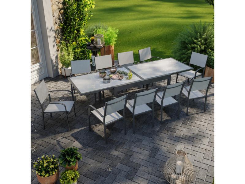 Table de jardin extensible aluminium 270cm + 10 fauteuils empilables textilène anthracite gris - lio 10