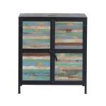 Buffet industriel métal et bois, 2 portes     mim4293-bcolor