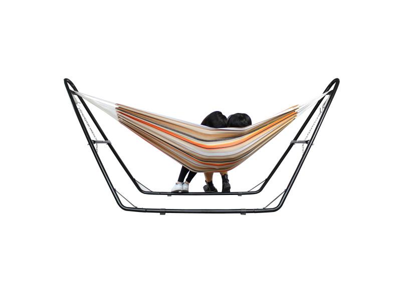 Hamac, lit suspendu, beige/brun/orange, coton, brésilien, avec support type-h, capacité: pour 2 personnes 3700778714976