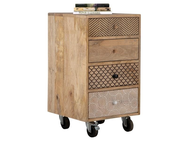 Table d'appoint womo-design naturel, 70x40x40 cm, avec 4 tiroirs et 4 roulettes pivotantes, en bois de manguier et mdf 390003210