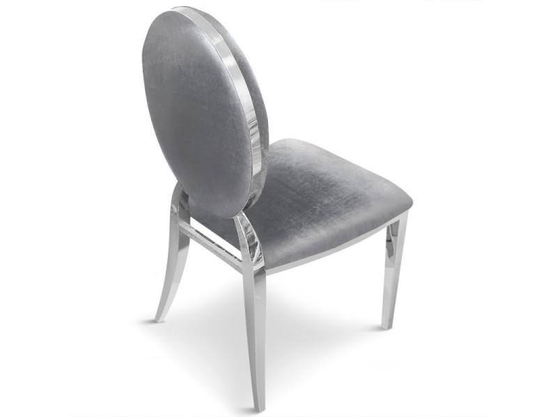 """Paris prix - lot de 4 chaises médaillon """"tatianna"""" 90cm argent - Vente de PARIS PRIX sueEl"""