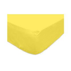 Drap housse 140x200cm 100% coton jaune