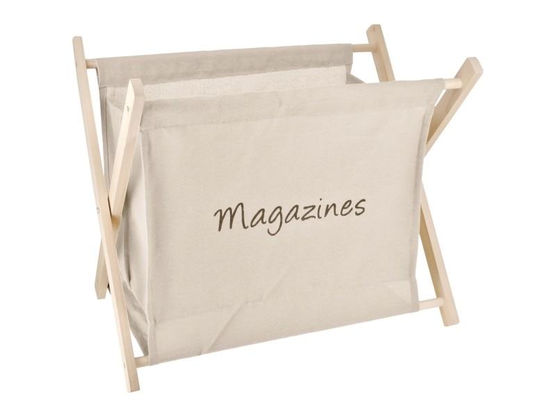 Porte revues rangement magazine design vintage bois et lin crème
