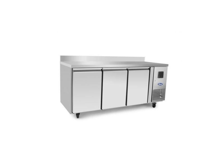 Table réfrigérée négative 3 portes avec dosseret - profondeur 600 - atosa - r290 3 portes pleine
