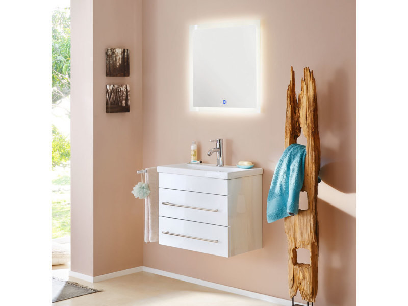 Mars 600 Slimline Avec Miroir Led Meuble De Salle De Bain En Blanc