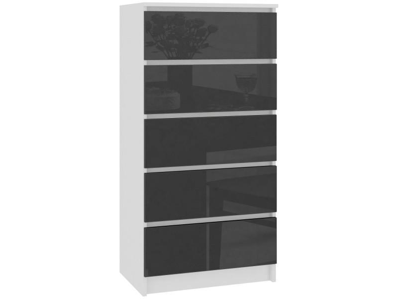 Skandi - commode contemporaine chambre + salon + bureau 121x60x40 cm - 5 tiroirs - design moderne - chiffonier semainier - blanc/gris laqué