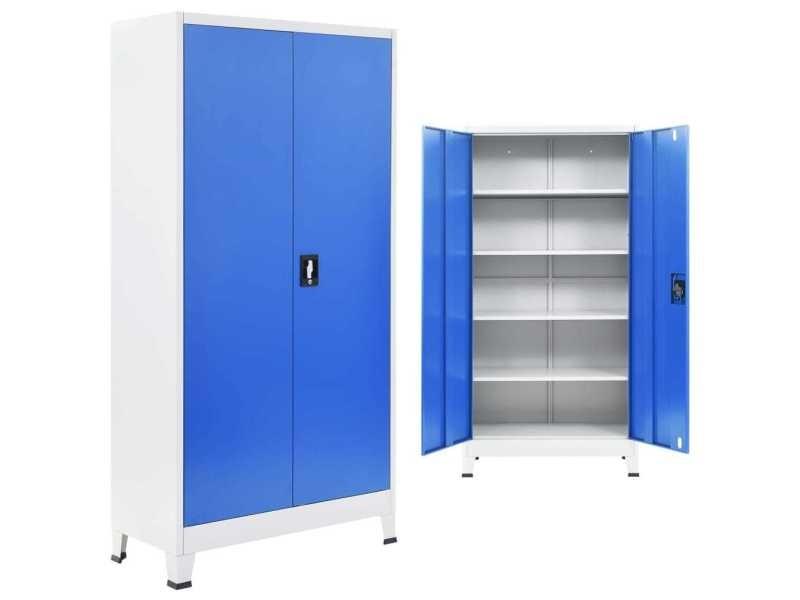 Splendide armoires et meubles de rangement famille kuala lumpur armoire de bureau métal 90 x 40 x 180 cm gris et bleu