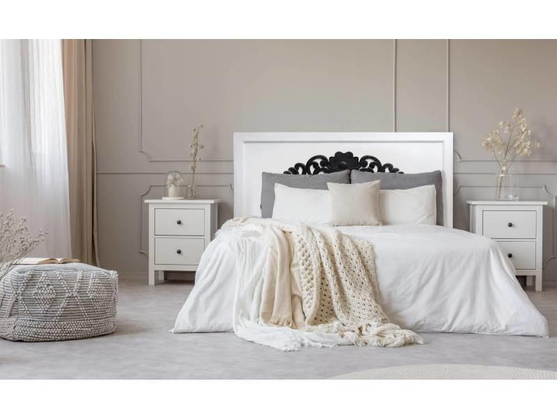 Tête de lit venezia 140cm bois blanc et noir