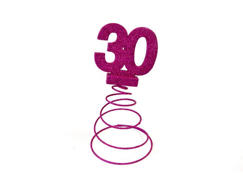 Lot de 10 centres de table pour anniversaire 30 ans - fuschia pailletée